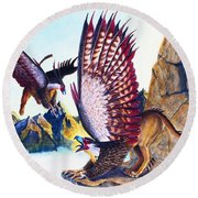 Griffins On Cliff Round Beach Towel