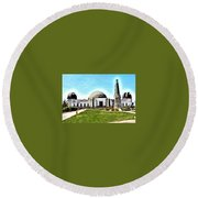 Griffith Observatory, Los Angeles, California Round Beach Towel