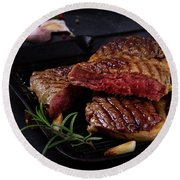 Grilled Beef Steak Round Beach Towel