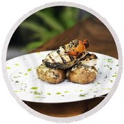 Grilled Fish With Roast Potato Herbs And Garlic Round Beach Towel