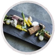 Grilled Pork Sour Cream And Vegetables On Modern Grey Slate Round Beach Towel