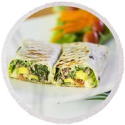 Grilled Vegetable And Salad Wrap Round Beach Towel