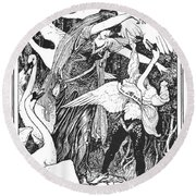 Grimm: The Six Swans Round Beach Towel
