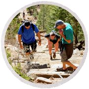 Grinding It Out On The Manitou Incline And Barr Trail Round Beach Towel