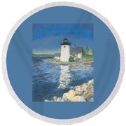 Grindle Point Light Round Beach Towel by Dominic White