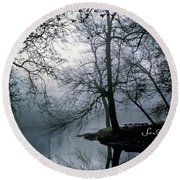 Grings Mill Fog 1043 Round Beach Towel