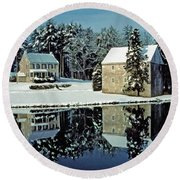 Grings Mill Snow 001 Round Beach Towel