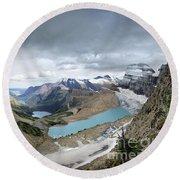 Grinnell Glacier Overlook Vista - Glacier National Park Round Beach Towel