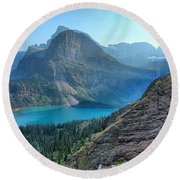 Grinnell Lake - Many Glacier Round Beach Towel