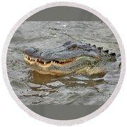 Grinning Gator Round Beach Towel