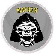 Grinning Mayhem Death Skull Round Beach Towel