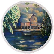 Grist Mill 2 Round Beach Towel