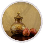 Grit And Pears Round Beach Towel