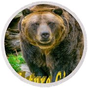 Grizzly Bear Nature Girl    Round Beach Towel