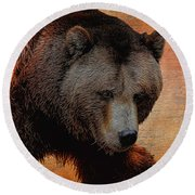 Grizzly Bear Painted Round Beach Towel