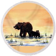 Grizzly Bears Round Beach Towel