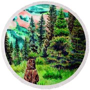 Grizzly Country Round Beach Towel
