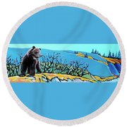 Grizzly Cub Round Beach Towel