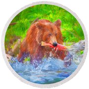 Grizzly Delights Round Beach Towel
