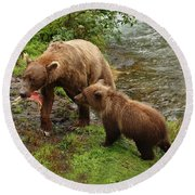 Grizzly Dinner For Two Round Beach Towel