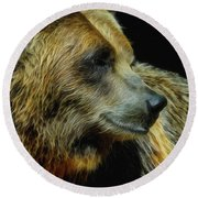 Grizzly Profile Round Beach Towel