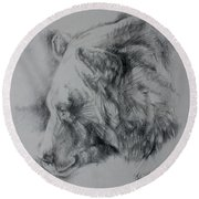 Grizzly Sketch Round Beach Towel