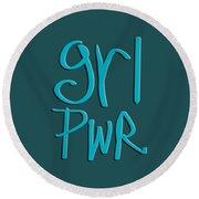 Grl Pwr Round Beach Towel