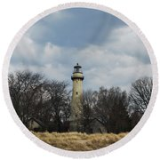 Grosse Point Lighthouse Portrait Round Beach Towel