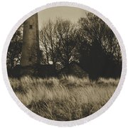 Grosse Point Lighthouse Sepia Round Beach Towel