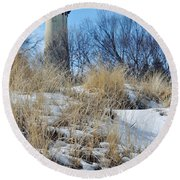 Grosse Point Lighthouse Winter Dunes Round Beach Towel