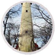 Grosse Point Lighthouse Winter Round Beach Towel