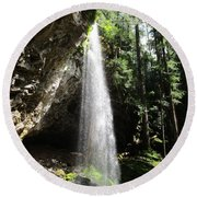 Grotto Falls Perspective Round Beach Towel