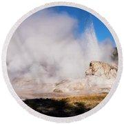 Grotto Geyser Eruption And Spray Round Beach Towel
