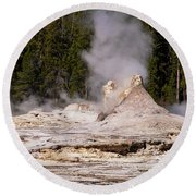 Grotto Geyser Eruption Two Round Beach Towel