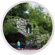 Grotto Of Our Lady Of Lourdes Round Beach Towel