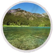 Grotto Pond Canmore Alberta Round Beach Towel
