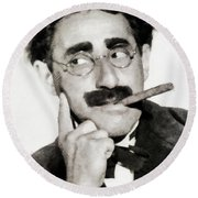 Groucho Marx, Vintage Comedy Actor Round Beach Towel