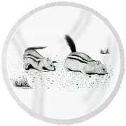 Ground Squirrels Round Beach Towel