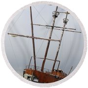 Grounded Ship In Frozen Water Round Beach Towel