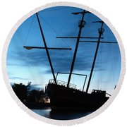 Grounded Tall Ship Silhouette Round Beach Towel by Oleksiy Maksymenko