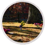 Groundhog Hill Cemetery Round Beach Towel