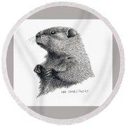 Groundhog Or Woodchuck Round Beach Towel