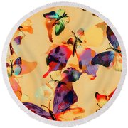 Group Of Butterflies With Colorful Wings Round Beach Towel