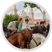Group Of Couples On Horseback Drinking And Partying At The Sevil Round Beach Towel