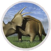 Group Of Dinosaurs Grazing In A Grassy Round Beach Towel