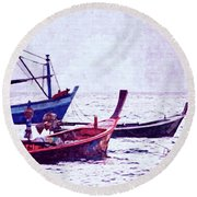 Group Of Fishing Boats Round Beach Towel
