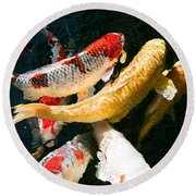 Group Of Koi Fish Round Beach Towel