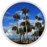 Group Of Palms Round Beach Towel