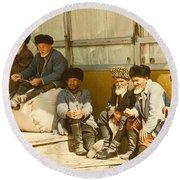 Group Of Uzbek Retirees Round Beach Towel