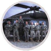 Group Photo Of Uh-60 Black Hawk Pilots Round Beach Towel